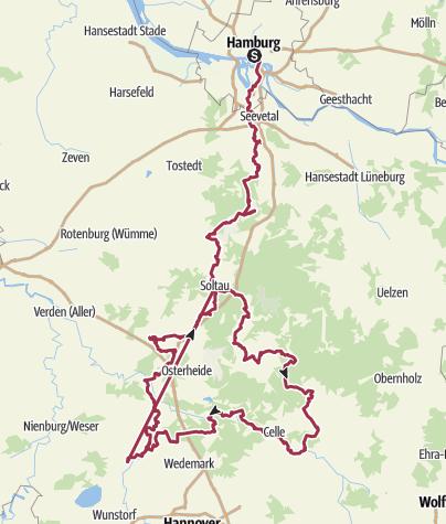 Karte / Jacobusweg: Pilgern und Wandern durch die Lüneburger Heide