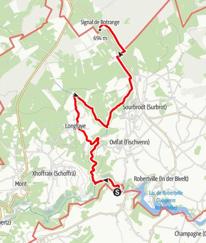 Kaart / Gr 56 – Verbinding Bayehon - Route Burcht Reinhardstein / Botrange