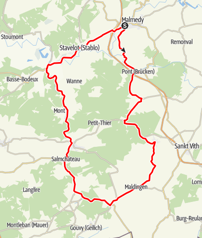 Kaart / Rennrad - Malmedy Richtung Süden