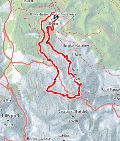 Map / Rotwand Klettersteigrunde in den Sextner Dolomiten