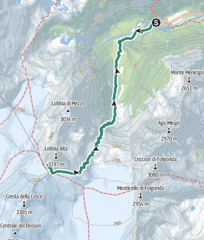 Cartina / Trekking al Rifugio Caduti dell'Adamello alle Lobbie