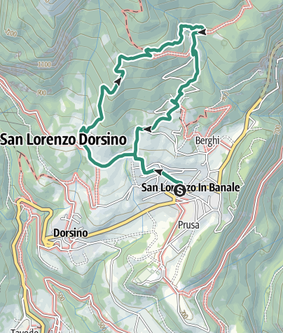 Map / Hike from San Lorenzo in Banale to Rifugio Alpenrose