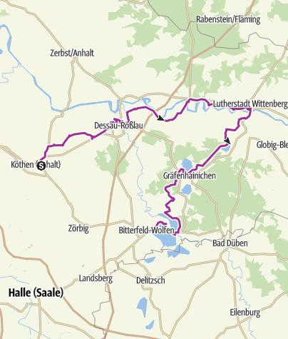 Karte / Eine Radtour entlang der Straße der deutschen Sprache
