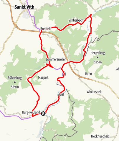 Carte / Fahrradroute - Die Mühlenroute im Ourtal