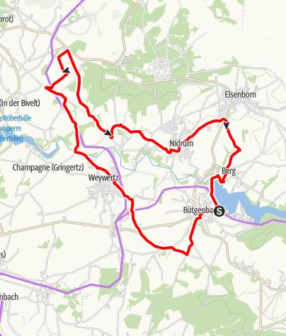 Kaart / Fietsroute – De Warche Route