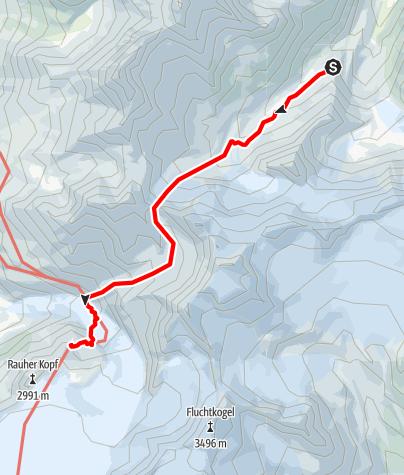 Karte / Übergang vom Taschachhaus über das Wannetjoch zur Rauhekopfhütte