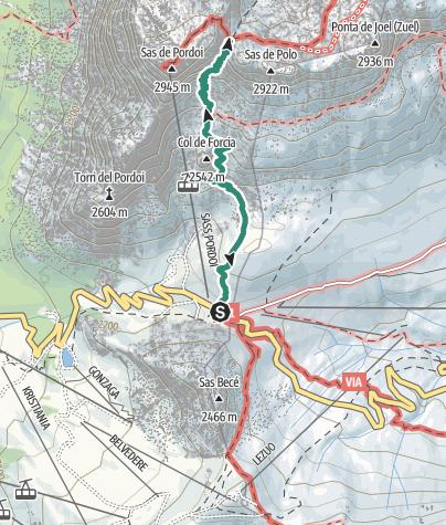 Map / Hike to Rifugio Forcella Pordoi