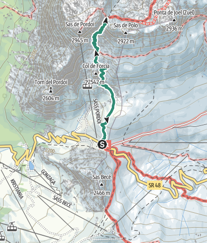 Map / Hike to Rifugio Forcella Pordoi