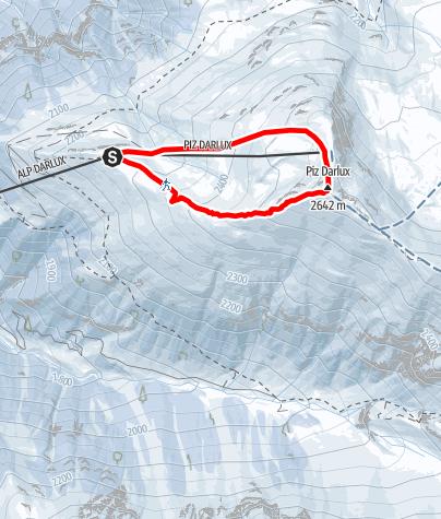 Map / Snowshoe trail Piz Darlux