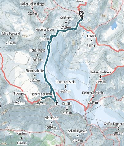 Karte / Dachstein von Simonyhütte über Randkluftsteig (Normalweg)