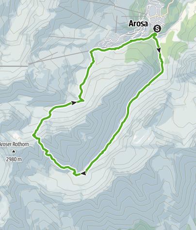 Map / Arosa - Welschtobel - Ramoz hut - Erzhorn saddle - Älplisee lake - Arosa