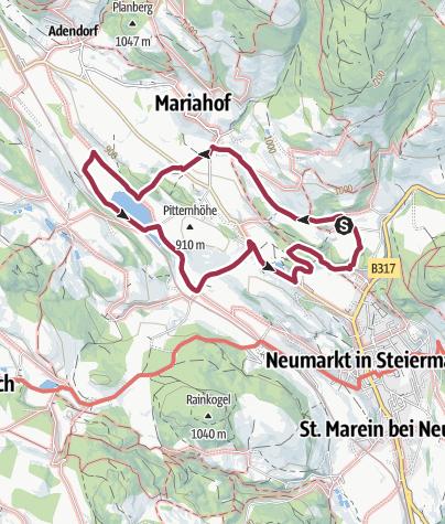 """Karte / Mariahof_Von der """"Alten Schmiede"""" zum Furtner Teich"""