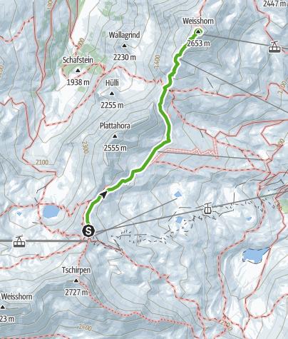 Map / Hörnli Peak Station - Weisshorn Summit
