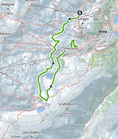 Map / Middle station Weisshorn - Schwellisee lake - Mountain Chapel - Local History Museum - Innerarosa