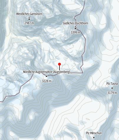 Karte / Zollwachhütte unterhalb des Futschölpasses, dahinter die Krone