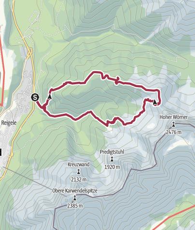 Map / Wörnerkopf (1.978m) und Hochlandhütte von Mittenwald