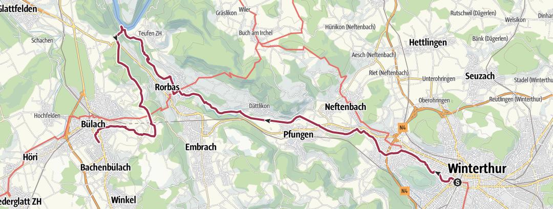 Kartta / Von Winterthur der Töss entlang zur Tössegg und nach Bülach