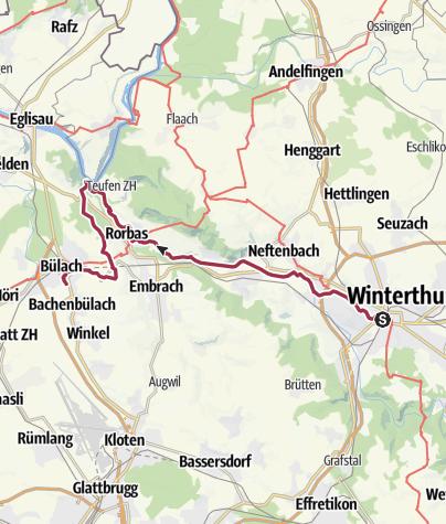 Mapa / Von Winterthur der Töss entlang zur Tössegg und nach Bülach