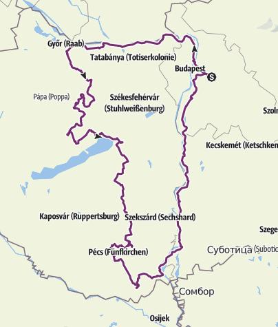 Térkép / Dunántúl keresztbe É-D-i irányba