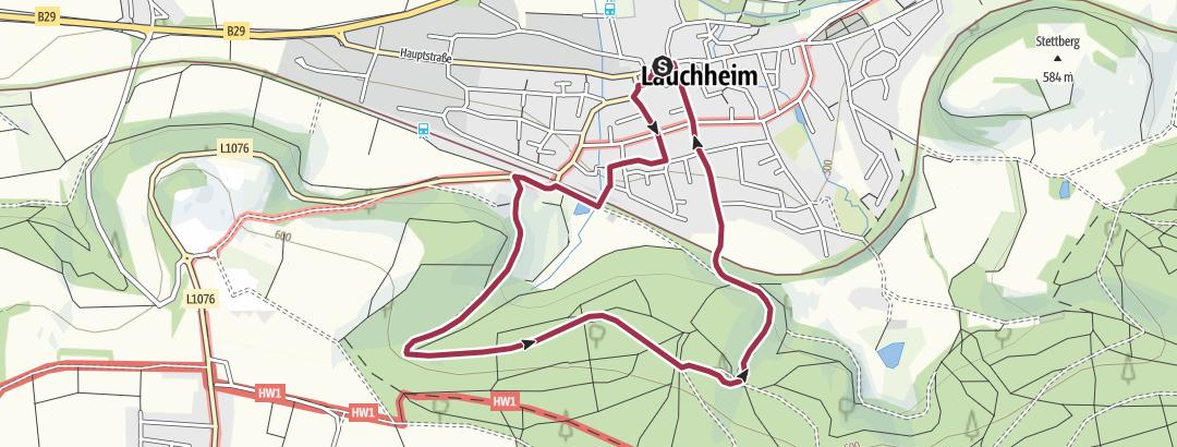 Karte / 16 Der Wald südlich von Lauchheim (4 km)