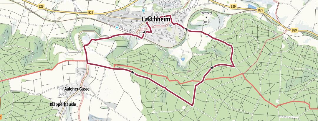 """Karte / 17 Von der Kapfenburg in Richtung """"Schöner Stein"""" (9 km)"""