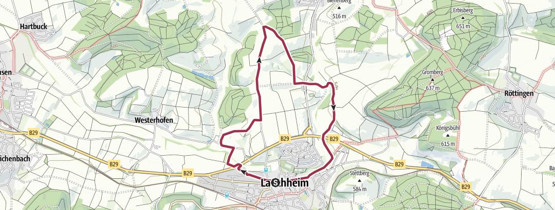 Karte / 21 Rundwanderung nördlich von Lauchheim (7,3 km)