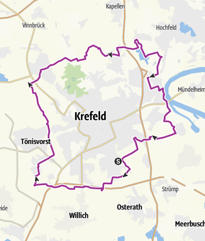 Karte / GrünGürtel-RadRunde Krefeld