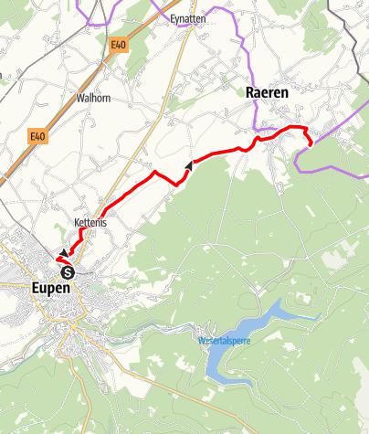 Carte / Connexion Vennbahn Eupen - Raeren
