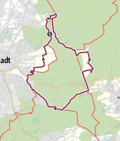 Karte / Rundweg Darmstadt-Oberwaldhaus - Jagdschloss Kranichstein - Bessunger Forsthaus - Fischteiche - Vivarium - Oberfeld - Oberwaldhaus