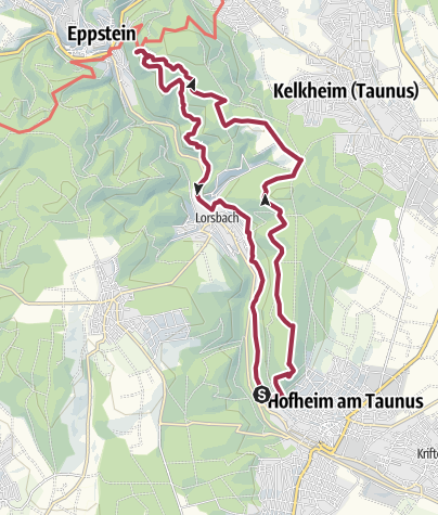Karte / Rundweg Hofheim – Meisterturm – Gundelhard – Kaisertempel – Lorsbachtal – Burkartsmühle