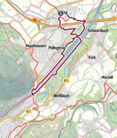 Karte / Durch die Saalachauen