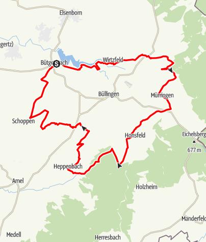 Kaart / MTB - Velden en heggen Bütgenbach