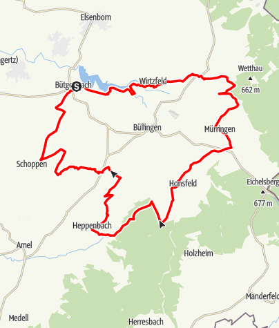 Karte / MTB - Felder und Hecken Bütgenbach