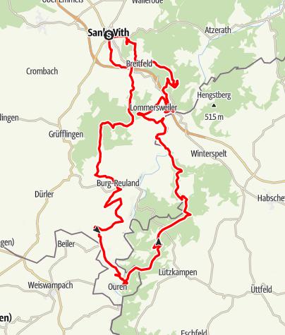 Carte / VTT - La grande traversée St.Vith - Ouren - St.Vith