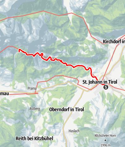 Map / Adlerweg - Etappe 1: St. Johann - Gaudeamushütte