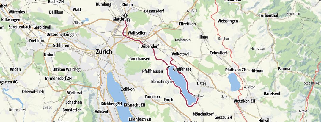 Mapa / Von Kloten der Glatt entlang um den Greifensee bis nach Schwerzenbach