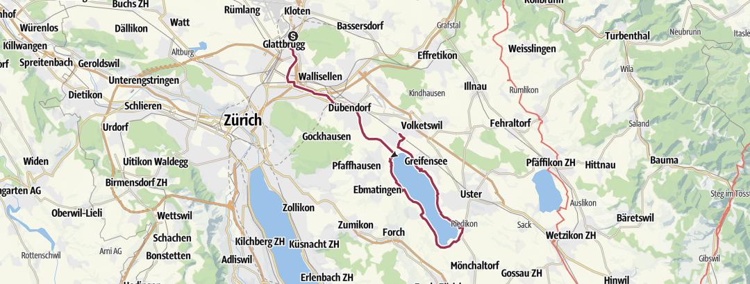 Map / Von Kloten der Glatt entlang um den Greifensee bis nach Schwerzenbach