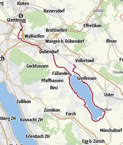 Karte / Von Kloten der Glatt entlang um den Greifensee bis nach Schwerzenbach