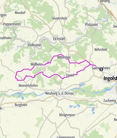 Karte / 2021-04-28 Tauberfeld-Ochsenfeld-Wellheim-Kienberg-Hütting, 75 km-690hm-2,45h, KA am Berg, hF abwärts