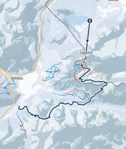 Karte /  Transalp mit Ski - Etappe 1: Garmisch-Partenkirchen - Biberwier