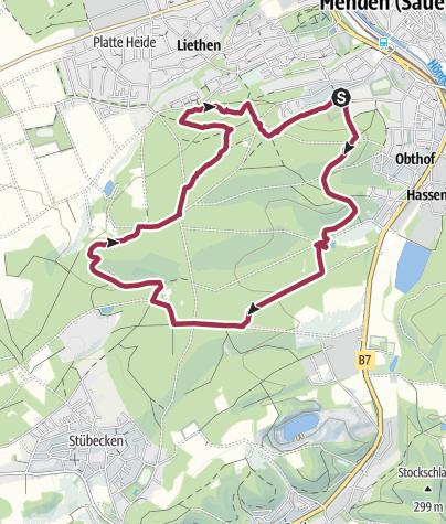 Karte / Rund um die Waldemei bei Menden