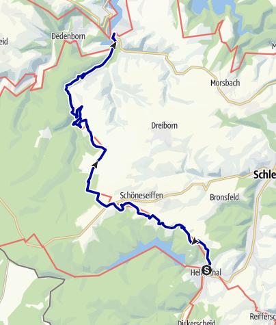 Karte / Nordeifel: Rur-Olef-Route 02. Etappe Hellenthal-Einruhr