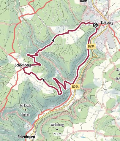 Karte / Von Loßburg über den Flößerpfad nach Schömberg