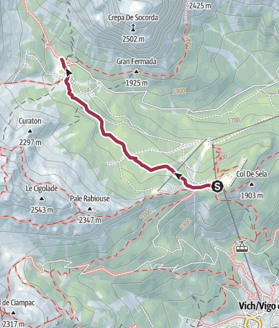 Map / Walk to the Rifugio Gardeccia