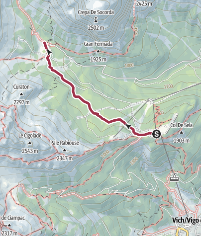 Map / Walk to the Rifugio Stella Alpina Spiz Piaz