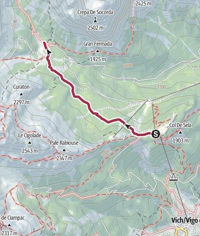 Karte / Wanderung zur Schutzhütte Stella Alpina Spiz Piaz