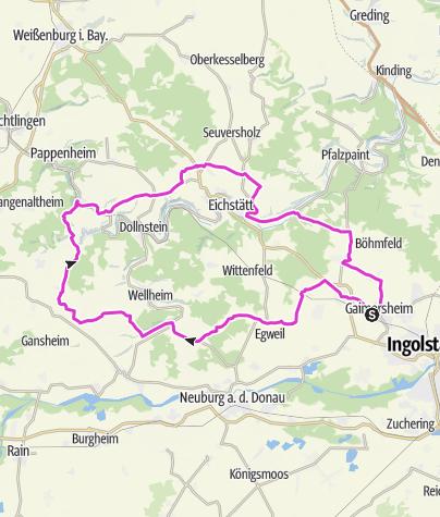 Karte / 21-06-02, 96km-1100hm-3,15h, Tauberfeld-Bergen-Gammersfeld-Mühlheim-Solnhofen-Rupertsbuch
