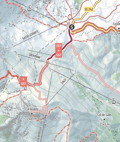 Karte / Wanderung zur Schutzhütte Salei