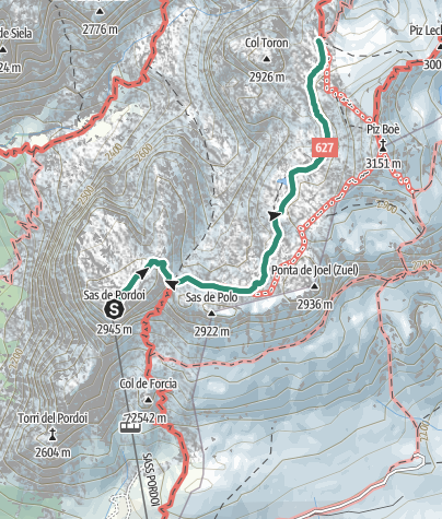 Map / Hike to Rifugio Boè