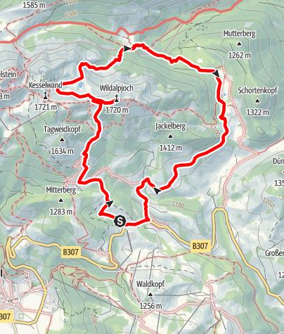 Karte / Wildalpjoch (1.720m) und Mitteralm. Runde vom Sudelfeld